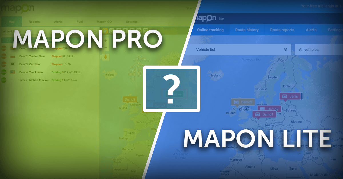 Mapon Pro and Mapon Lite – System and feature comparison