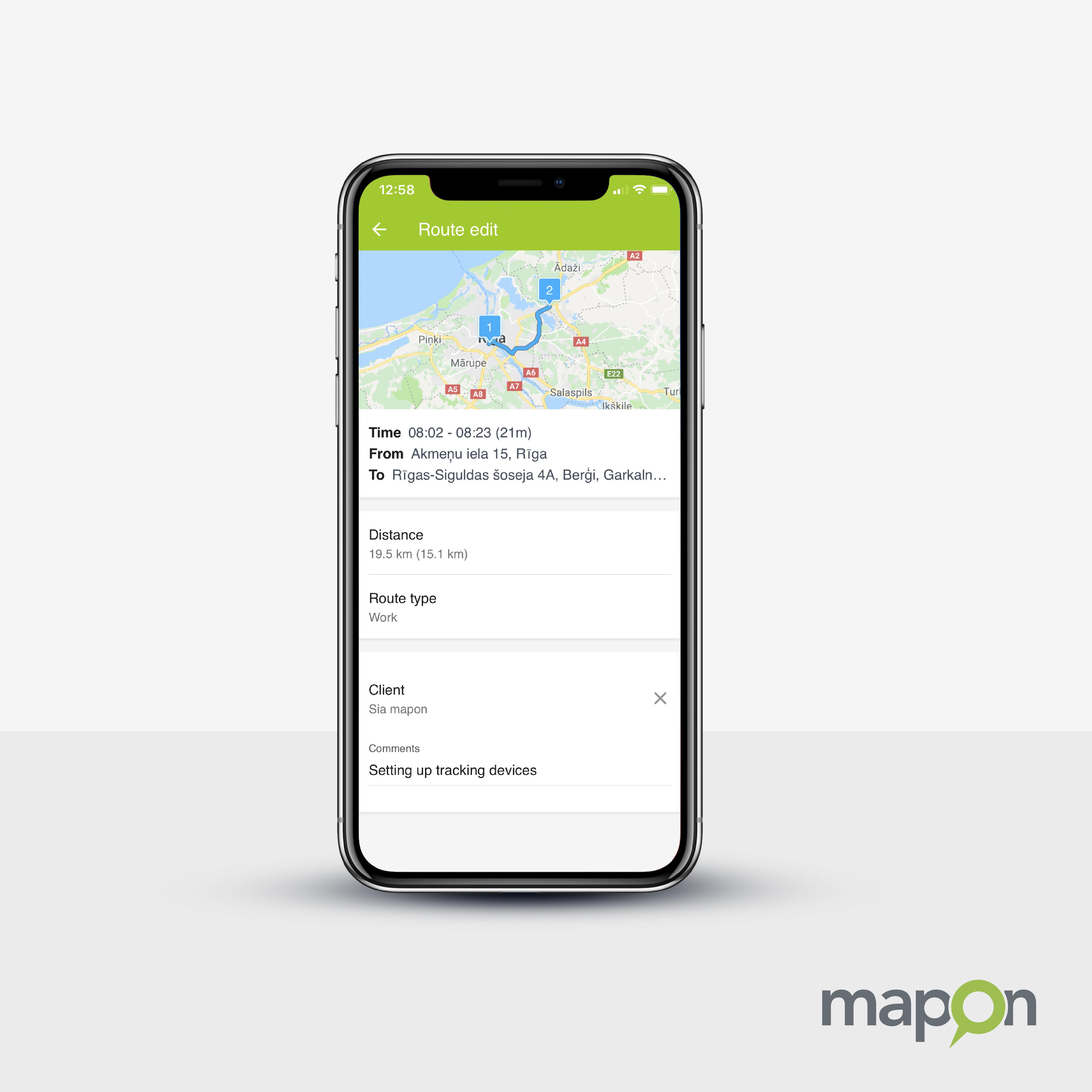 Trip Log weergave enkele route iPhonex