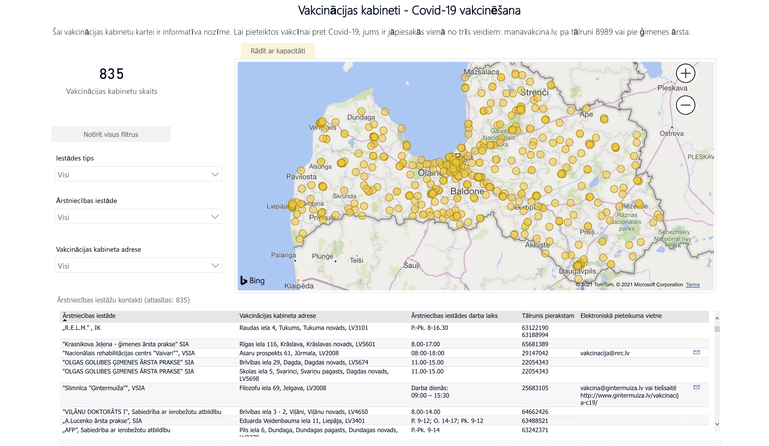 vaccination centres in latvia map